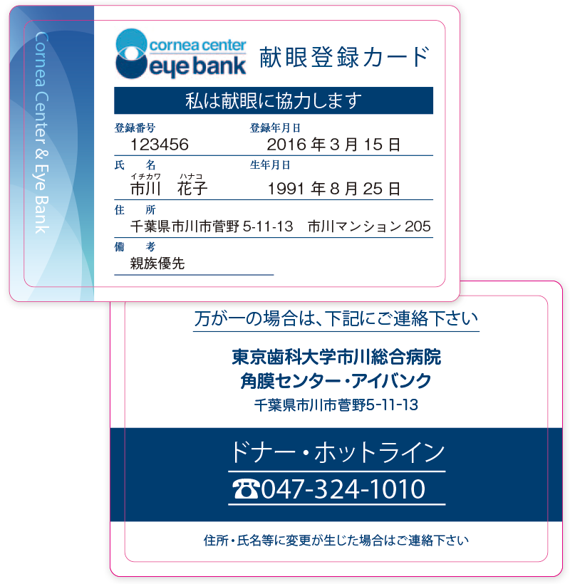 献眼登録カードのデザインが変わります!
